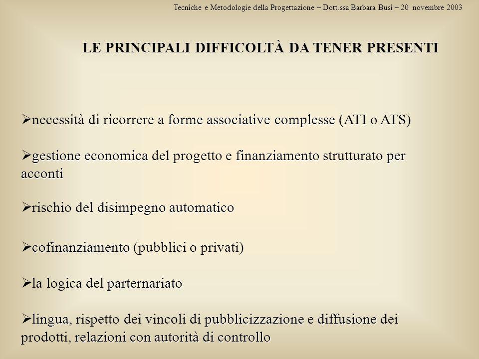 Tecniche e Metodologie della Progettazione – Dott.ssa Barbara Busi – 20 novembre 2003 LE PRINCIPALI DIFFICOLTÀ DA TENER PRESENTI linguapubblicizzazion