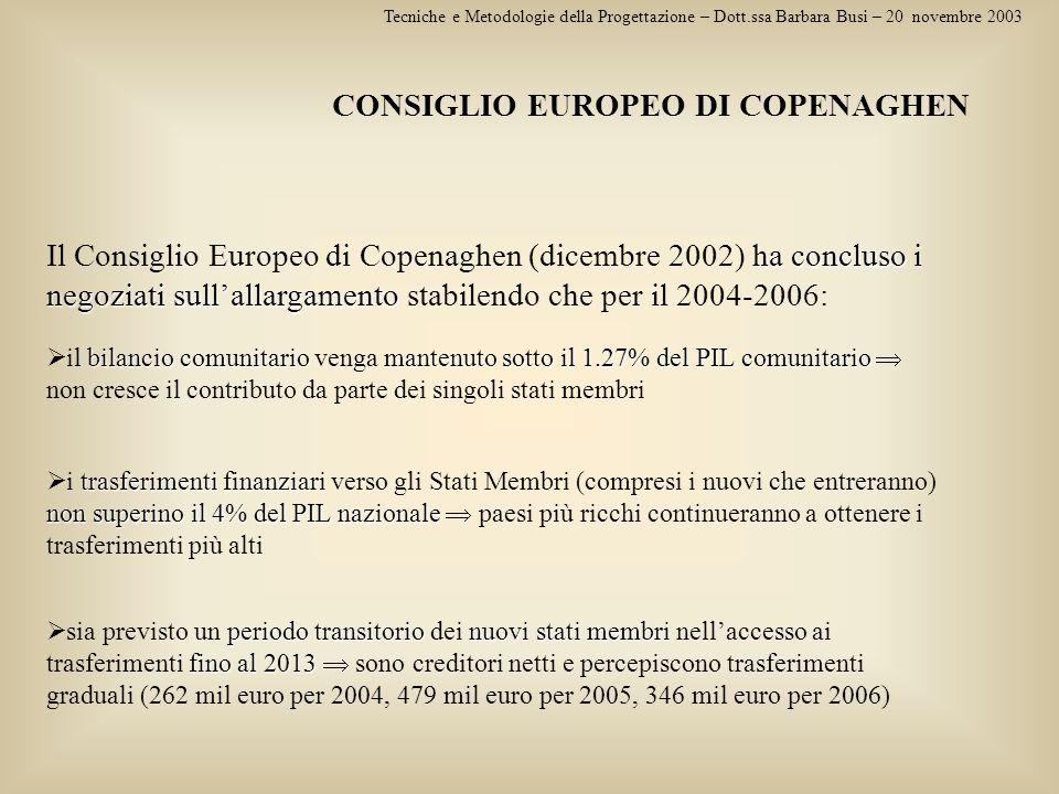 Tecniche e Metodologie della Progettazione – Dott.ssa Barbara Busi – 20 novembre 2003 CONSIGLIO EUROPEO DI COPENAGHEN ha concluso i negoziati sullalla