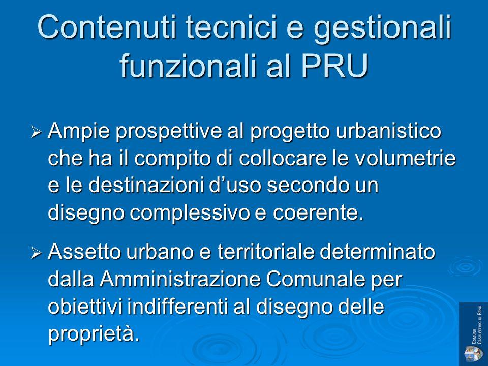 Contenuti tecnici e gestionali funzionali al PRU Ampie prospettive al progetto urbanistico che ha il compito di collocare le volumetrie e le destinazioni duso secondo un disegno complessivo e coerente.