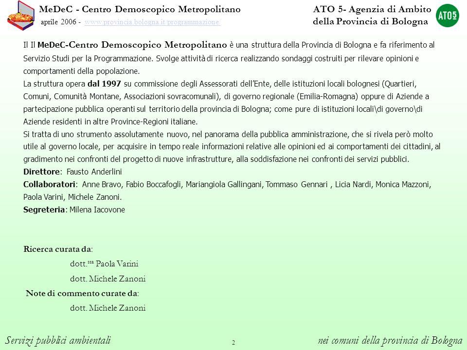 2 Servizi pubblici ambientali nei comuni della provincia di Bologna MeDeC - Centro Demoscopico Metropolitano ATO 5- Agenzia di Ambito aprile 2006 - ww