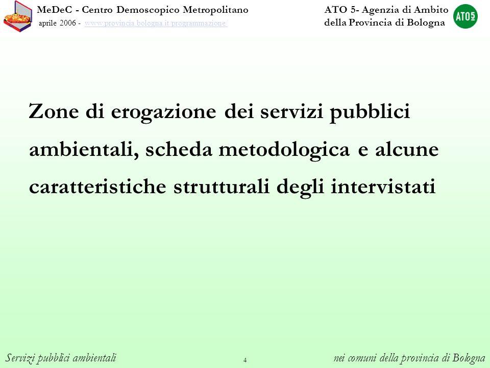 4 Zone di erogazione dei servizi pubblici ambientali, scheda metodologica e alcune caratteristiche strutturali degli intervistati MeDeC - Centro Demos
