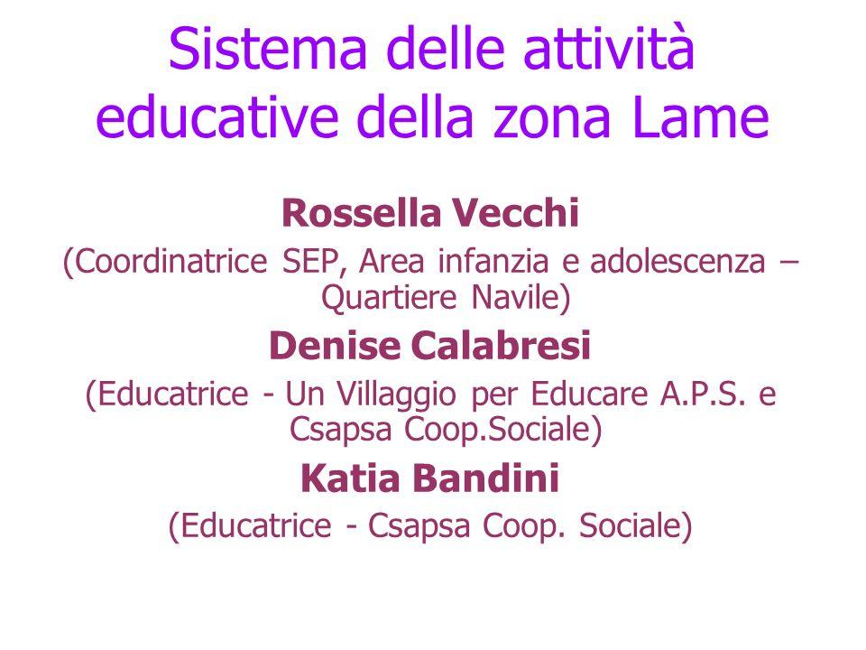 Sistema delle attività educative della zona Lame Rossella Vecchi (Coordinatrice SEP, Area infanzia e adolescenza – Quartiere Navile) Denise Calabresi (Educatrice - Un Villaggio per Educare A.P.S.