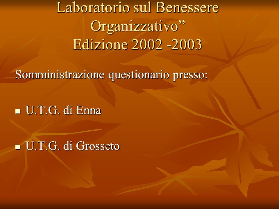 Laboratorio sul Benessere Organizzativo Edizione 2002 -2003 Somministrazione questionario presso: U.T.G. di Enna U.T.G. di Enna U.T.G. di Grosseto U.T