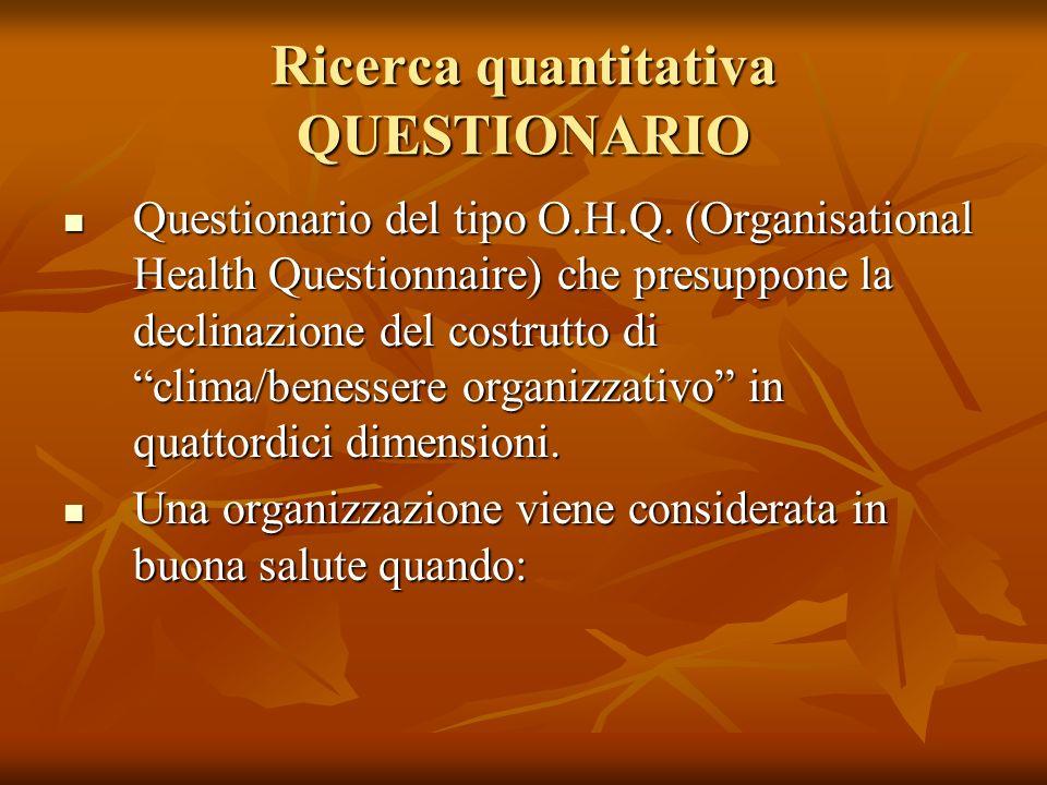 Ricerca quantitativa QUESTIONARIO Questionario del tipo O.H.Q. (Organisational Health Questionnaire) che presuppone la declinazione del costrutto di c