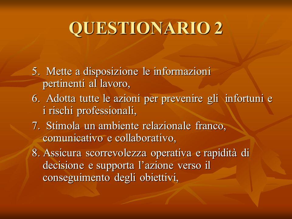 QUESTIONARIO 2 5. Mette a disposizione le informazioni pertinenti al lavoro, 6. Adotta tutte le azioni per prevenire gli infortuni e i rischi professi