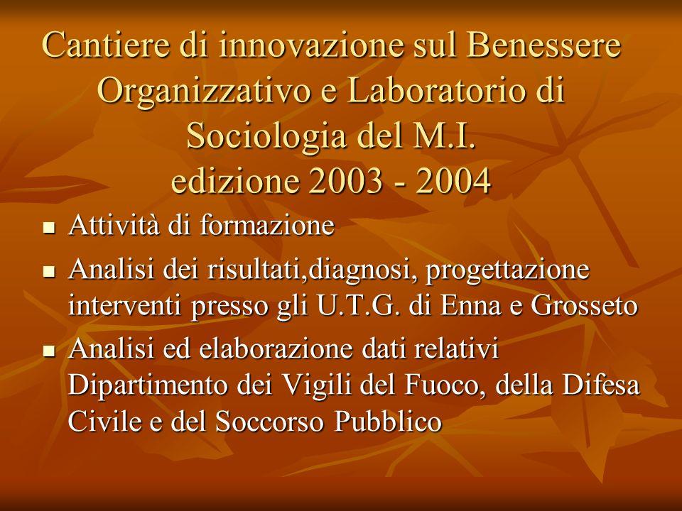 Cantiere di innovazione sul Benessere Organizzativo e Laboratorio di Sociologia del M.I. edizione 2003 - 2004 Attività di formazione Attività di forma