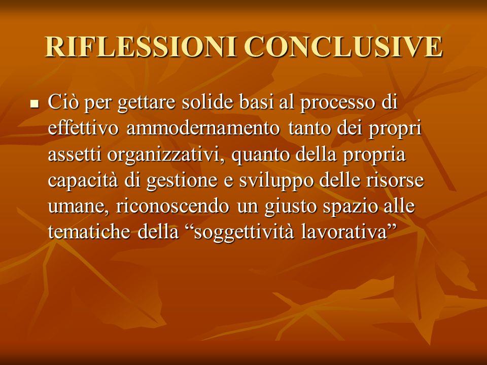 RIFLESSIONI CONCLUSIVE Ciò per gettare solide basi al processo di effettivo ammodernamento tanto dei propri assetti organizzativi, quanto della propri