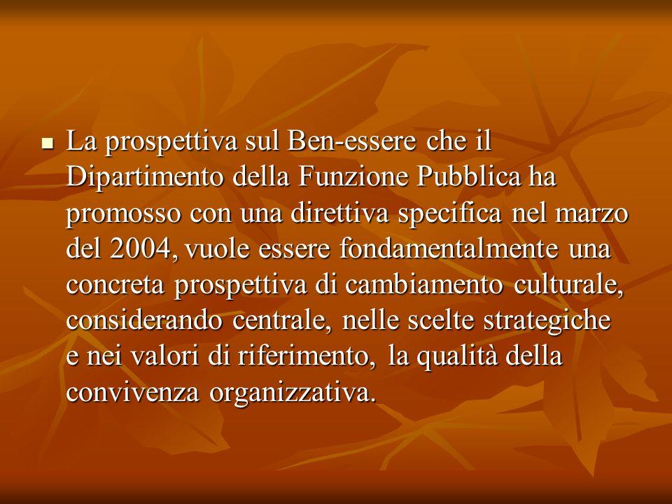 La prospettiva sul Ben-essere che il Dipartimento della Funzione Pubblica ha promosso con una direttiva specifica nel marzo del 2004, vuole essere fon