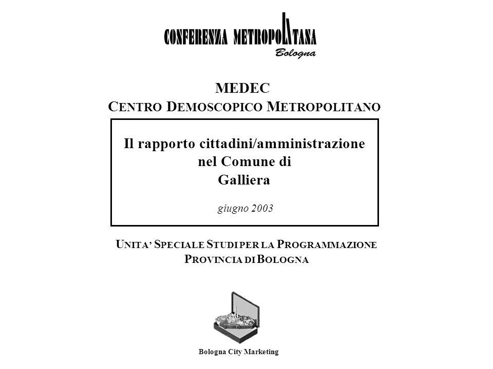 MeDeC - Centro Demoscopico MetropolitanoComune di Galliera Galliera/ Nuclei San Vincenzo San Venanzio Case sparse Suddivisione in zone di Galliera