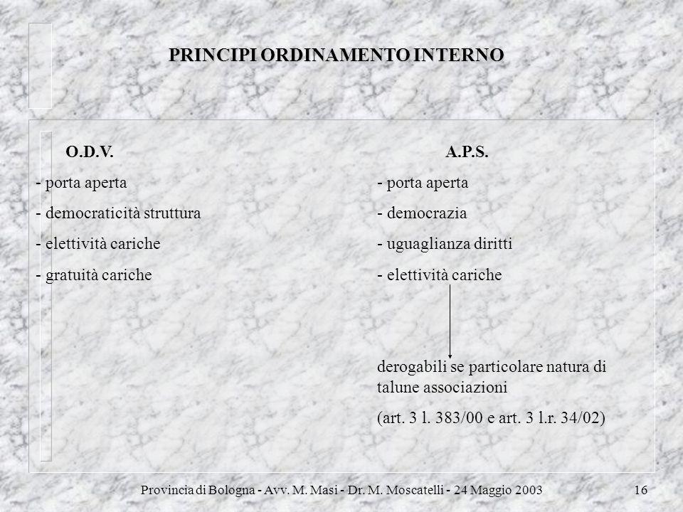 Provincia di Bologna - Avv. M. Masi - Dr. M. Moscatelli - 24 Maggio 200316 PRINCIPI ORDINAMENTO INTERNO O.D.V.A.P.S.- porta aperta - democraticità str