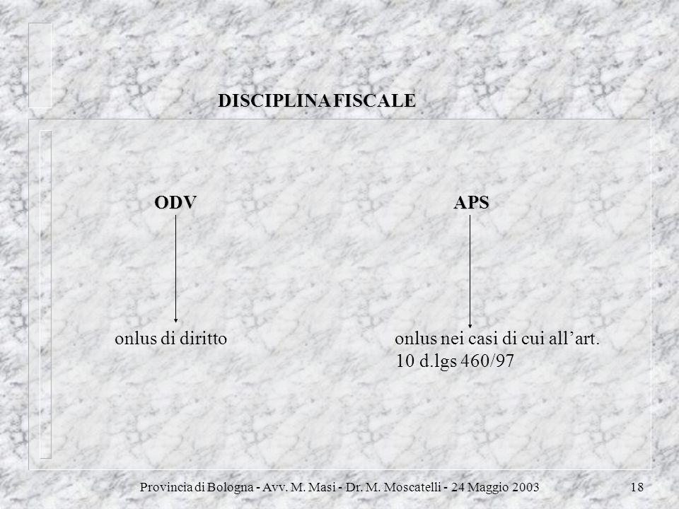 Provincia di Bologna - Avv. M. Masi - Dr. M. Moscatelli - 24 Maggio 200318 DISCIPLINA FISCALE ODV APS onlus di diritto onlus nei casi di cui allart. 1