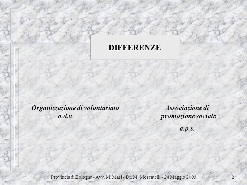 Provincia di Bologna - Avv. M. Masi - Dr. M. Moscatelli - 24 Maggio 20032 DIFFERENZE Organizzazione di volontariato Associazione di o.d.v. promozione