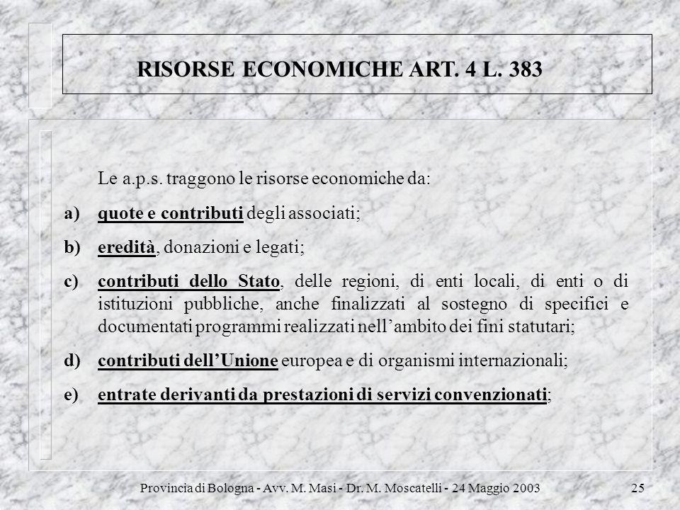 Provincia di Bologna - Avv. M. Masi - Dr. M. Moscatelli - 24 Maggio 200325 RISORSE ECONOMICHE ART. 4 L. 383 Le a.p.s. traggono le risorse economiche d