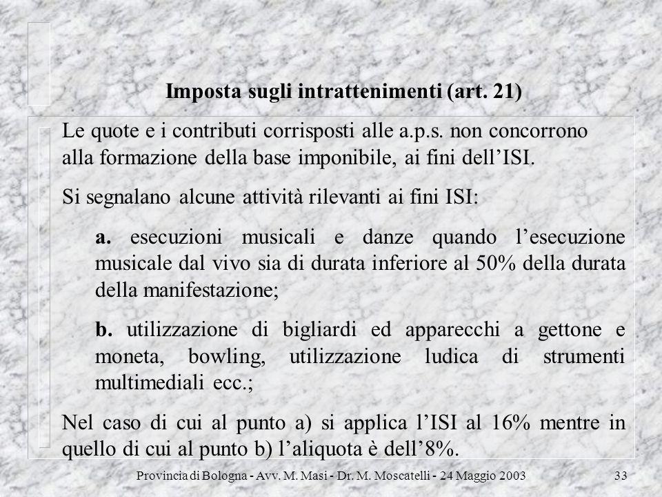 Provincia di Bologna - Avv. M. Masi - Dr. M. Moscatelli - 24 Maggio 200333 Imposta sugli intrattenimenti (art. 21) Le quote e i contributi corrisposti