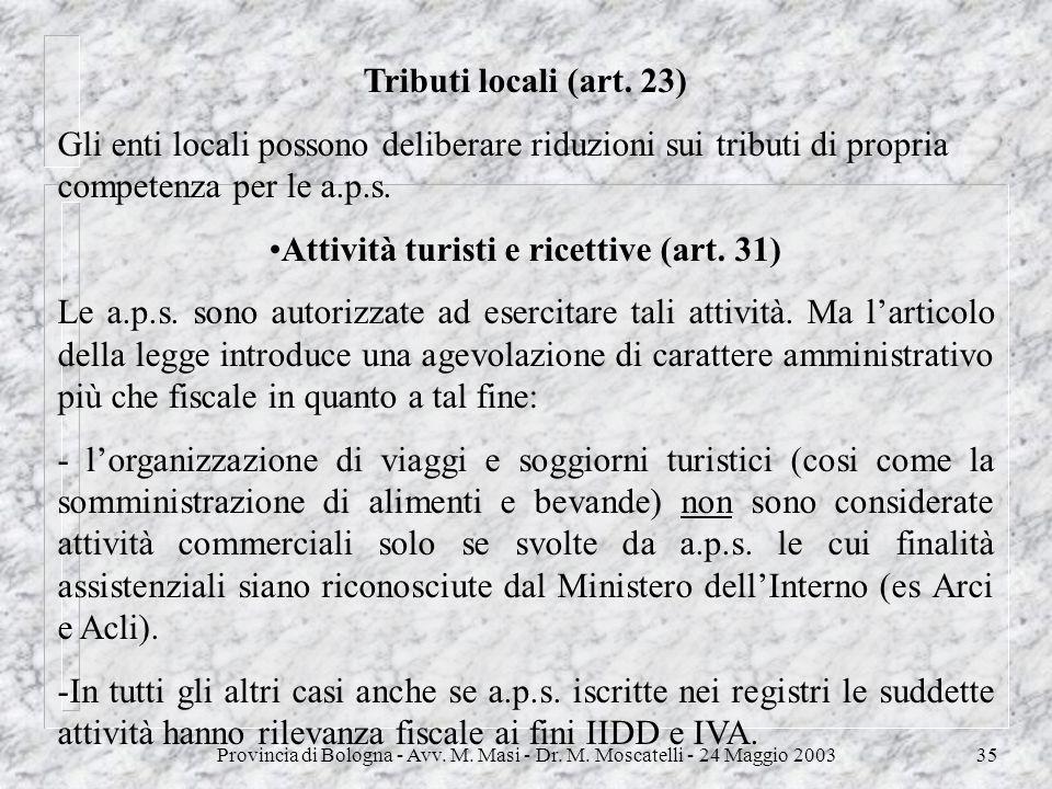 Provincia di Bologna - Avv. M. Masi - Dr. M. Moscatelli - 24 Maggio 200335 Tributi locali (art. 23) Gli enti locali possono deliberare riduzioni sui t