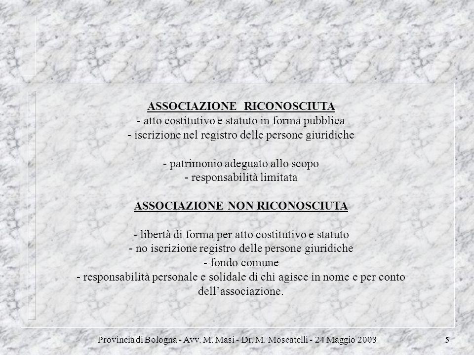 Provincia di Bologna - Avv. M. Masi - Dr. M. Moscatelli - 24 Maggio 20035 ASSOCIAZIONE RICONOSCIUTA - atto costitutivo e statuto in forma pubblica - i
