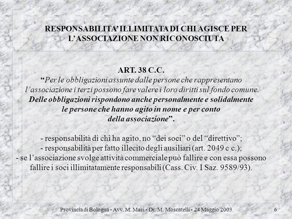 Provincia di Bologna - Avv. M. Masi - Dr. M. Moscatelli - 24 Maggio 20036 RESPONSABILITA ILLIMITATA DI CHI AGISCE PER LASSOCIAZIONE NON RICONOSCIUTA A