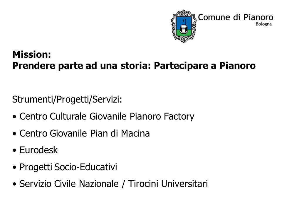 Mission: Prendere parte ad una storia: Partecipare a Pianoro Strumenti/Progetti/Servizi: Centro Culturale Giovanile Pianoro Factory Centro Giovanile P