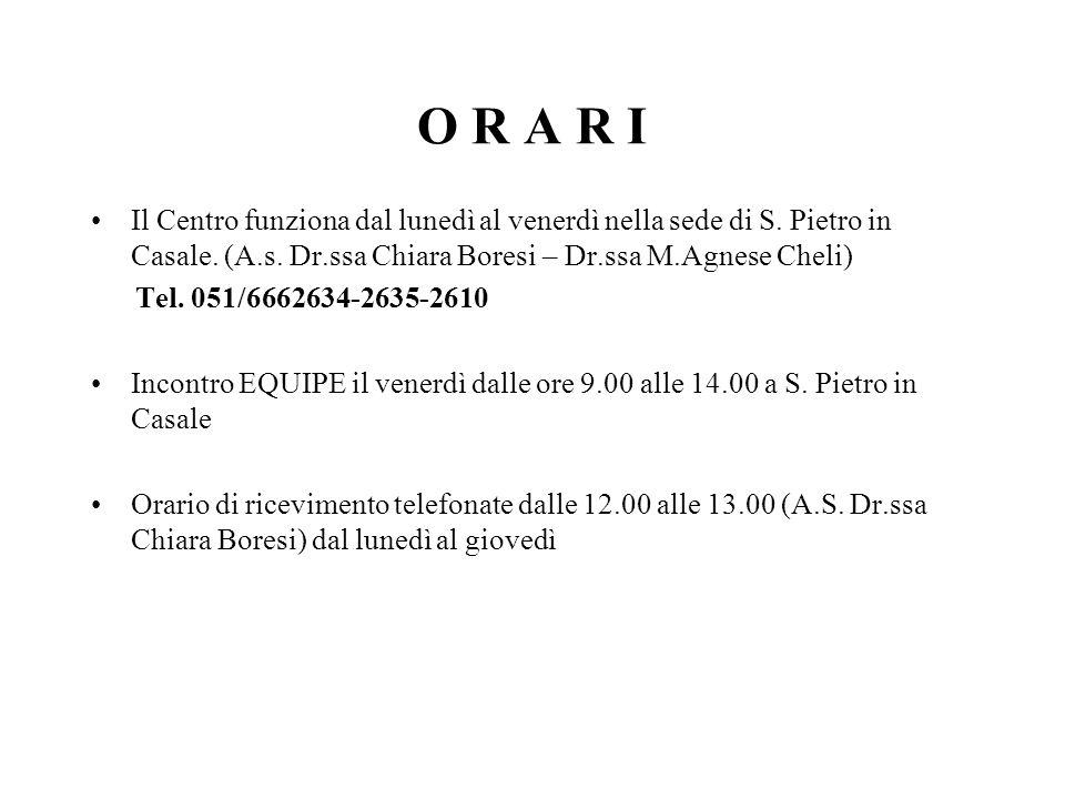 O R A R I Il Centro funziona dal lunedì al venerdì nella sede di S. Pietro in Casale. (A.s. Dr.ssa Chiara Boresi – Dr.ssa M.Agnese Cheli) Tel. 051/666