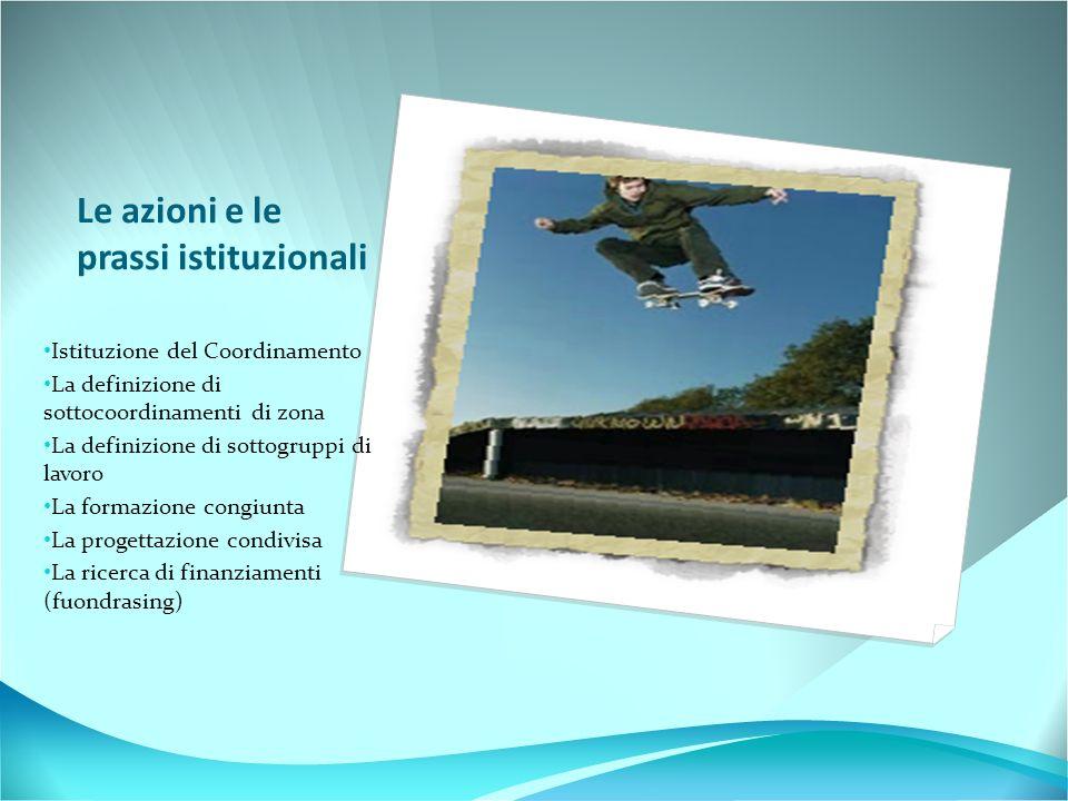Le azioni e le prassi istituzionali Istituzione del Coordinamento La definizione di sottocoordinamenti di zona La definizione di sottogruppi di lavoro