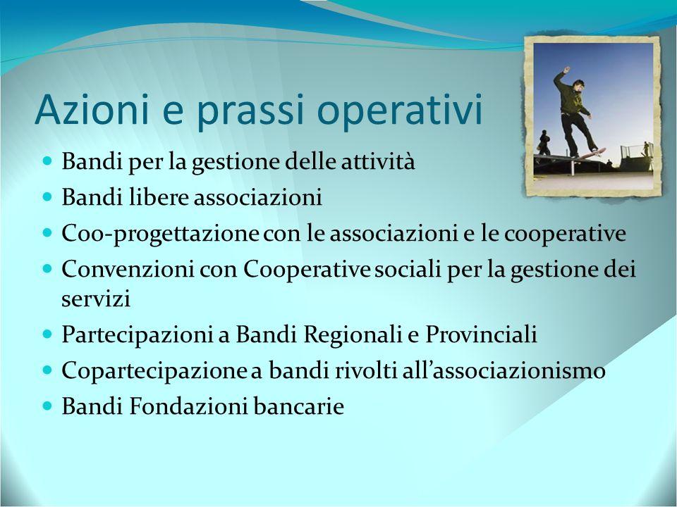 Azioni e prassi operativi Bandi per la gestione delle attività Bandi libere associazioni Coo-progettazione con le associazioni e le cooperative Conven