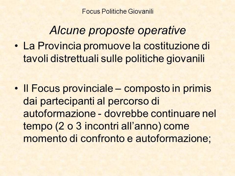 Focus Politiche Giovanili Alcune proposte operative La Provincia promuove la costituzione di tavoli distrettuali sulle politiche giovanili Il Focus pr
