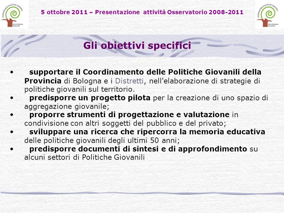 5 ottobre 2011 – Presentazione attività Osservatorio 2008-2011 supportare il Coordinamento delle Politiche Giovanili della Provincia di Bologna e i Distretti, nell elaborazione di strategie di politiche giovanili sul territorio.