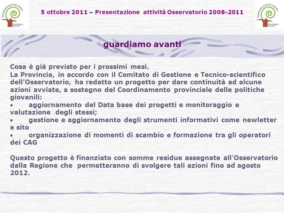 5 ottobre 2011 – Presentazione attività Osservatorio 2008-2011 guardiamo avanti Cosa è già previsto per i prossimi mesi.