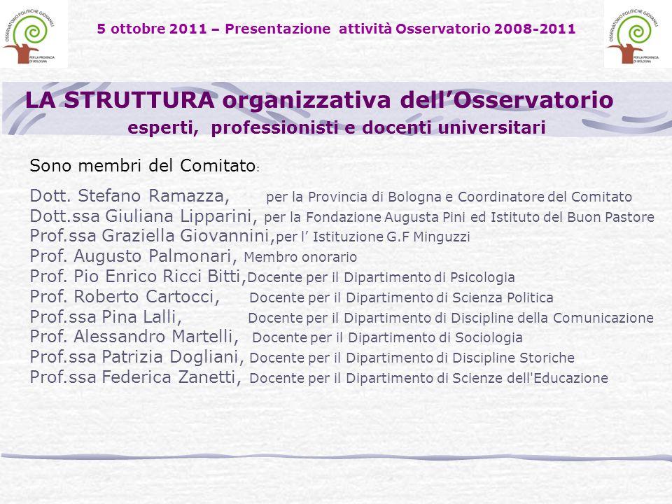 5 ottobre 2011 – Presentazione attività Osservatorio 2008-2011 LA STRUTTURA organizzativa dellOsservatorio esperti, professionisti e docenti universitari Sono membri del Comitato : Dott.