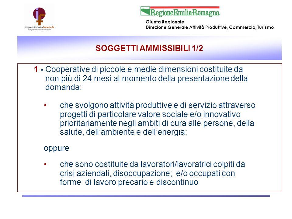 Giunta Regionale Direzione Generale Attività Produttive, Commercio, Turismo SOGGETTI AMMISSIBILI 2/2 2.
