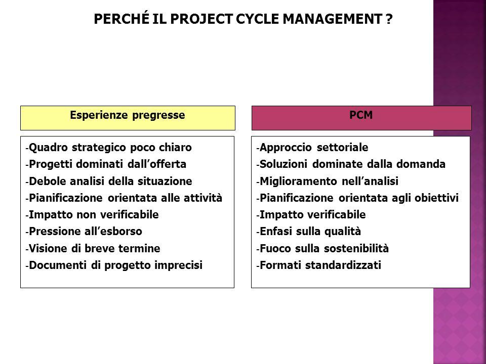 PERCHÉ IL PROJECT CYCLE MANAGEMENT .