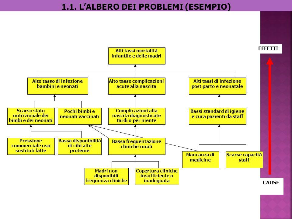 1.1. LALBERO DEI PROBLEMI (ESEMPIO) Madri non disponibili frequenza cliniche Copertura cliniche insufficiente o inadeguata Mancanza di medicine Scarse