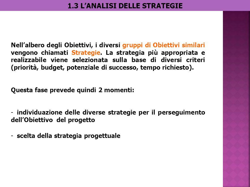 1.3 LANALISI DELLE STRATEGIE Nellalbero degli Obiettivi, i diversi gruppi di Obiettivi similari vengono chiamati Strategie.