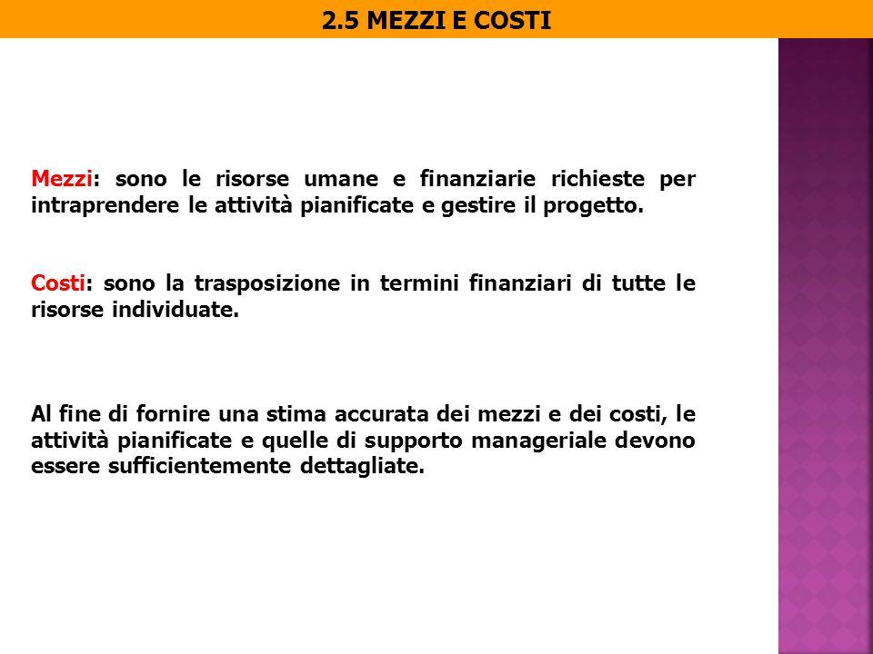 2.5 MEZZI E COSTI Mezzi: sono le risorse umane e finanziarie richieste per intraprendere le attività pianificate e gestire il progetto.