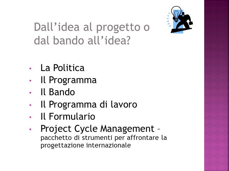 La Politica Il Programma Il Bando Il Programma di lavoro Il Formulario Project Cycle Management – pacchetto di strumenti per affrontare la progettazione internazionale Dallidea al progetto o dal bando allidea?