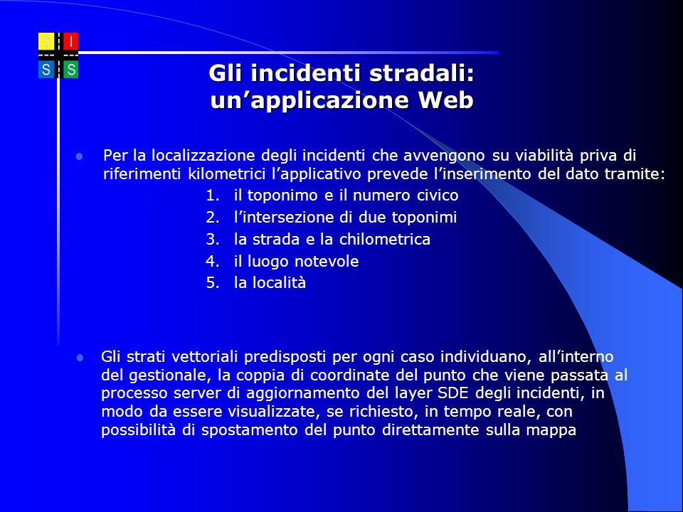 Per la localizzazione degli incidenti che avvengono su viabilità priva di riferimenti kilometrici lapplicativo prevede linserimento del dato tramite: