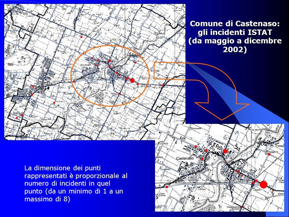 Comune di Castenaso: gli incidenti ISTAT (da maggio a dicembre 2002) La dimensione dei punti rappresentati è proporzionale al numero di incidenti in q