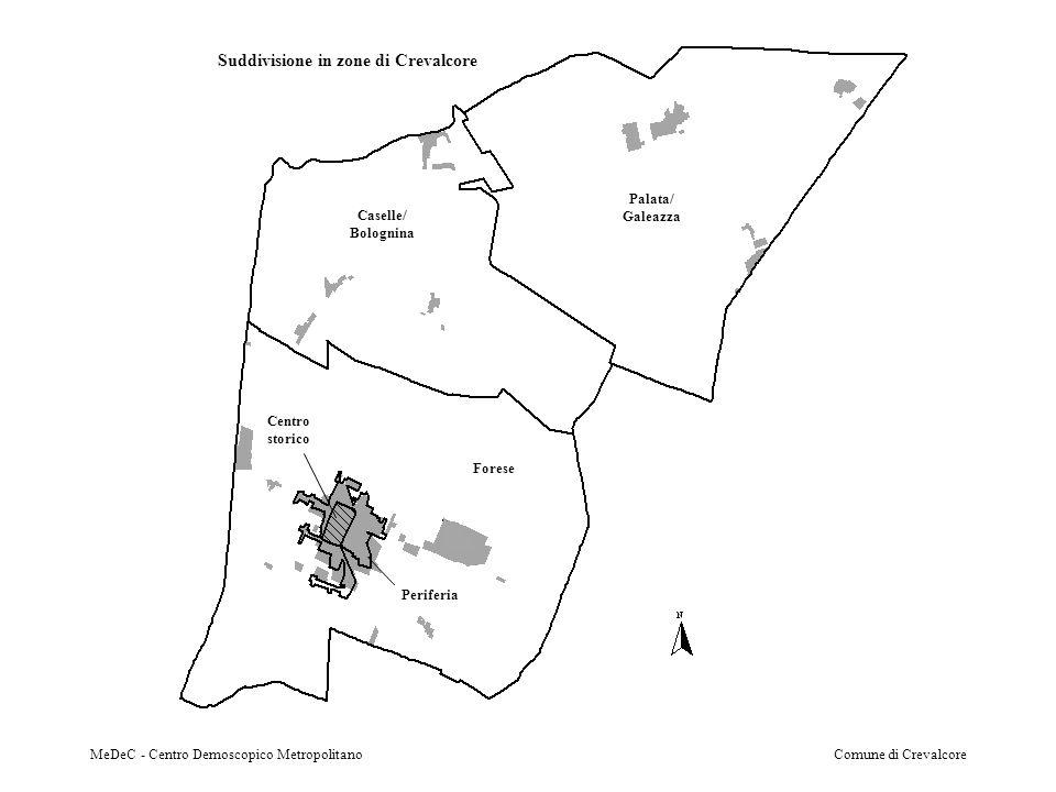 MeDeC - Centro Demoscopico MetropolitanoComune di Crevalcore Suddivisione in zone di Crevalcore Caselle/ Bolognina Centro storico Periferia Palata/ Galeazza Forese