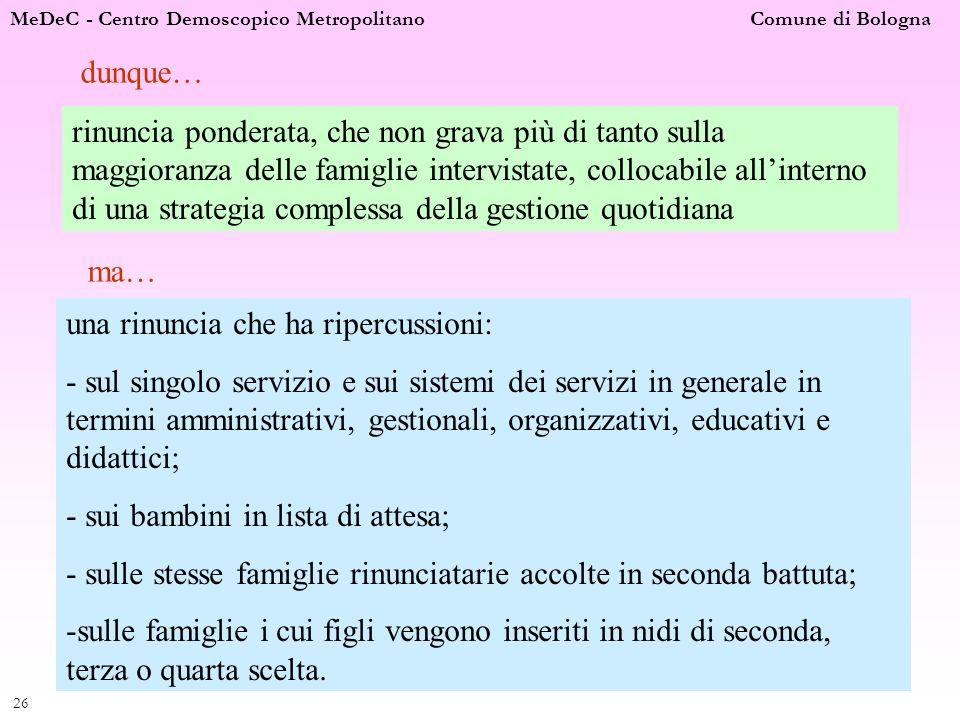 MeDeC - Centro Demoscopico Metropolitano Comune di Bologna 26 dunque… rinuncia ponderata, che non grava più di tanto sulla maggioranza delle famiglie