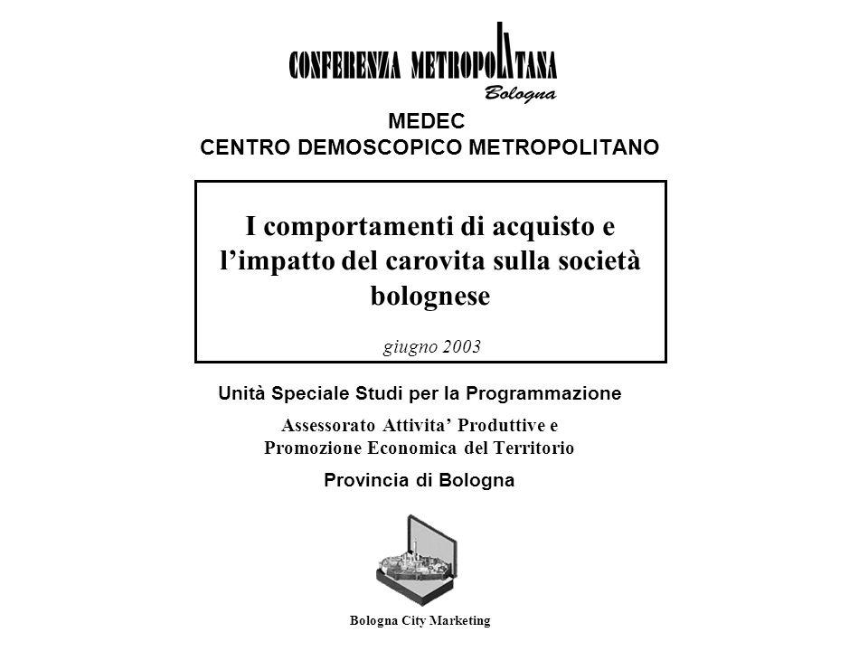 MEDEC CENTRO DEMOSCOPICO METROPOLITANO Unità Speciale Studi per la Programmazione Assessorato Attivita Produttive e Promozione Economica del Territori
