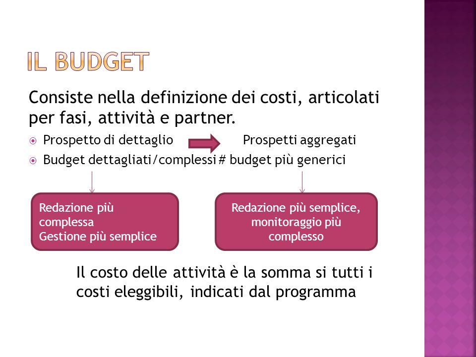 Consiste nella definizione dei costi, articolati per fasi, attività e partner.