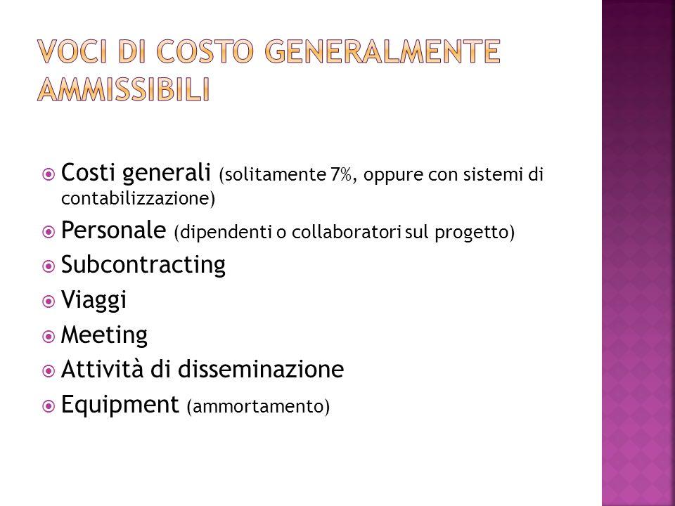 Costi generali (solitamente 7%, oppure con sistemi di contabilizzazione) Personale (dipendenti o collaboratori sul progetto) Subcontracting Viaggi Meeting Attività di disseminazione Equipment (ammortamento)