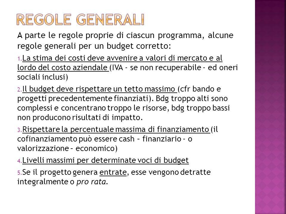 A parte le regole proprie di ciascun programma, alcune regole generali per un budget corretto: 1.
