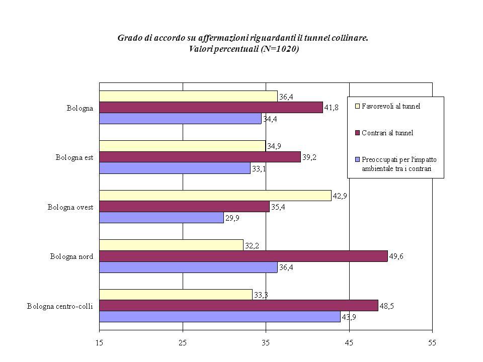 Grado di accordo su affermazioni riguardanti il tunnel collinare. Valori percentuali (N=1020)