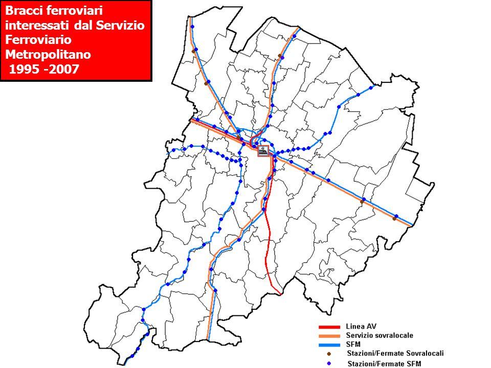 Bracci ferroviari interessati dal Servizio Ferroviario Metropolitano 1995 -2007