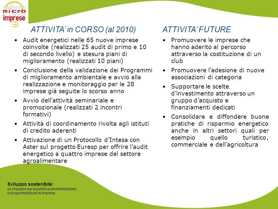 Sviluppo sostenibile: un impegno per la pubblica amministrazione, una opportunità per le imprese. ATTIVITA in CORSO (al 2010) Audit energetici nelle 6