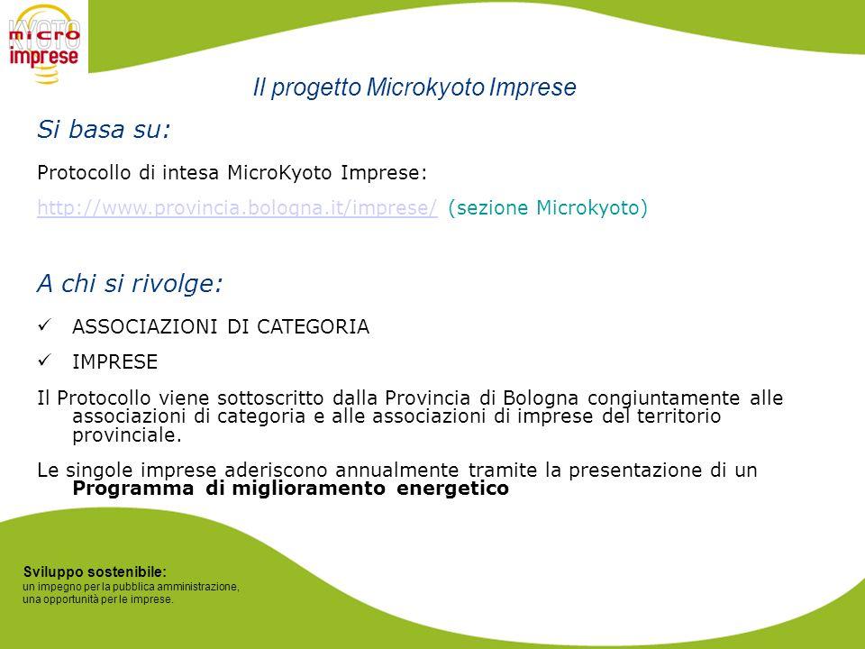 Sviluppo sostenibile: un impegno per la pubblica amministrazione, una opportunità per le imprese. Si basa su: Protocollo di intesa MicroKyoto Imprese: