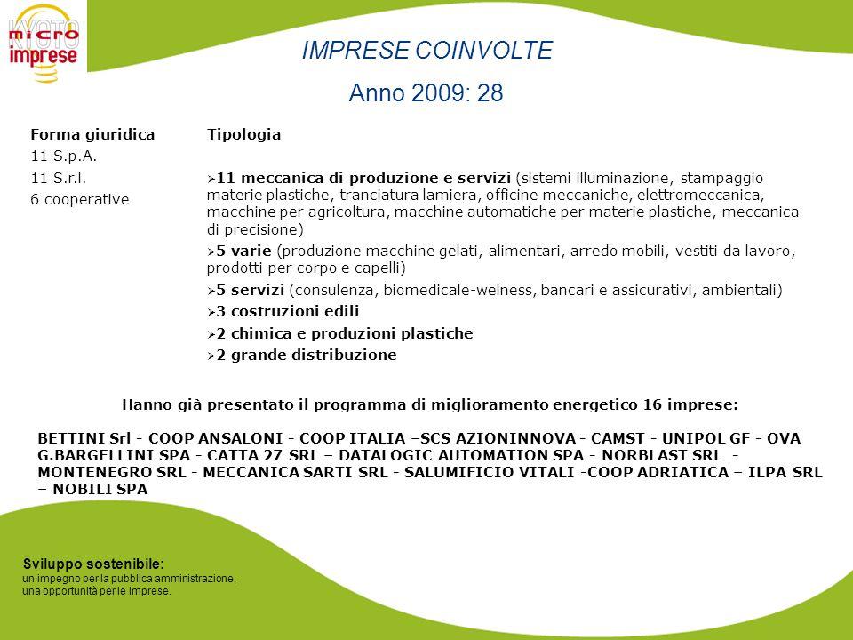 Sviluppo sostenibile: un impegno per la pubblica amministrazione, una opportunità per le imprese. IMPRESE COINVOLTE Anno 2009: 28 Tipologia 11 meccani