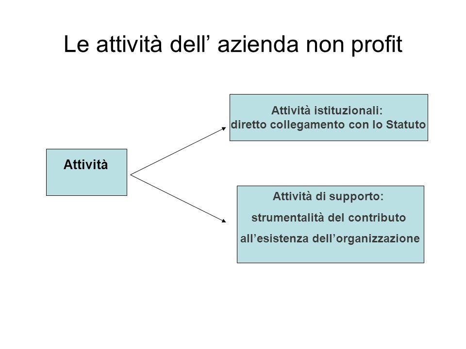 Le attività dell azienda non profit Attività Attività istituzionali: diretto collegamento con lo Statuto Attività di supporto: strumentalità del contributo allesistenza dellorganizzazione