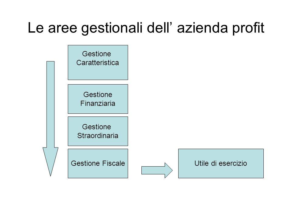 Le aree gestionali dell azienda profit Gestione Caratteristica Gestione Finanziaria Gestione Straordinaria Gestione FiscaleUtile di esercizio